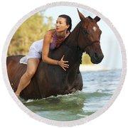 Ocean Horseback Rider Round Beach Towel