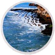 Ocean Lines Round Beach Towel