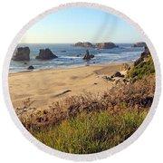 Bandon Oregon Shorelines Round Beach Towel