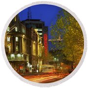 Oconnell Street Bridge, Dublin, Co Round Beach Towel