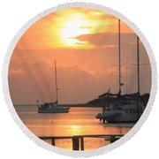 Ocracoke Island Harbor Sunset Round Beach Towel