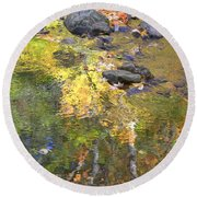 October Colors Reflected Round Beach Towel