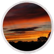October's Colorful Sunrise Round Beach Towel