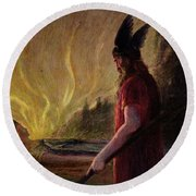 Odin Leaves As The Flames Rise Round Beach Towel by H Hendrich