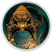 Of Crowns Masks And Things Yet Unseen Round Beach Towel