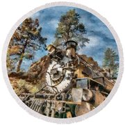 Of Mountain And Machine Round Beach Towel