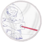 Ogre With Laser Cartoon Round Beach Towel