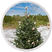 Oh Christmas Tree Florida Style Round Beach Towel