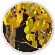 Oh Those Golden Leaves Round Beach Towel