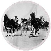 Ohio: Horse Race, 1904 Round Beach Towel