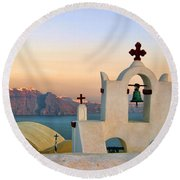 Oia In Santorini Round Beach Towel