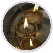 Oil Lamps Kept In A Plate As Part Of Diwali Celebrations Round Beach Towel