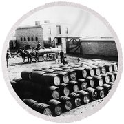 Oil: Montana, 1880 Round Beach Towel