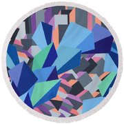 Blue Barge Through The Purple City Round Beach Towel