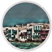 Oill Paint Effect Mykonos Greece Round Beach Towel