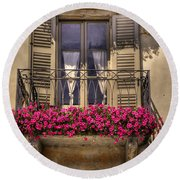 Old Balcony With Red Flowers Round Beach Towel by Mats Silvan