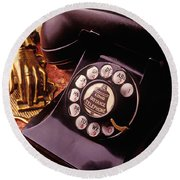 Old Bell Telephone Round Beach Towel