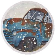 Old Blue Chevy Winter Storm Round Beach Towel