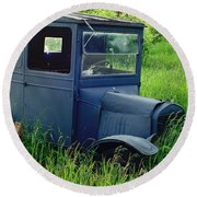 Old Blue Ford Truck Round Beach Towel