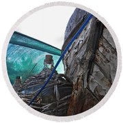 Old Boat And Flagons Round Beach Towel