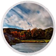 Old Bridge In The Fall Round Beach Towel