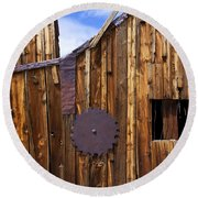 Old Building Bodie Ghost Town Round Beach Towel