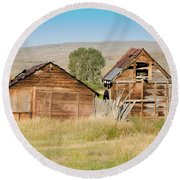 Old Building Woodruff Utah Round Beach Towel