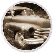 Old Caddy-sepia Round Beach Towel