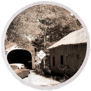 Old Car Older Barn Oldest Bridge Round Beach Towel