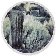 Old Cemetery On A Hill Round Beach Towel