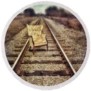 Old Chair On Railroad Tracks Round Beach Towel