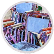 Old Chairs Round Beach Towel