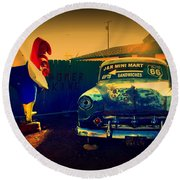 Old Chevrolet On Route 66 Round Beach Towel