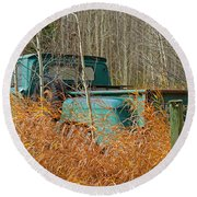 Old Chevy In The Field Round Beach Towel