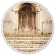 Old Church Door Round Beach Towel