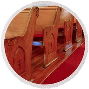 Old Church Pews Round Beach Towel by LeeAnn McLaneGoetz McLaneGoetzStudioLLCcom