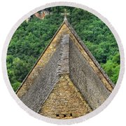 Old Church View Dordogne France Round Beach Towel