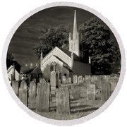 Old Church Yard Round Beach Towel
