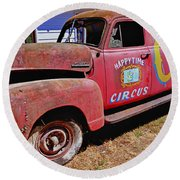 Old Circus Truck Round Beach Towel