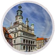 Old City Hall Clock Tower - Posnan Poland Round Beach Towel