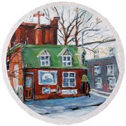 Old Corner Store Montreal By Prankearts Round Beach Towel