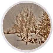 Old Country Christmas Round Beach Towel
