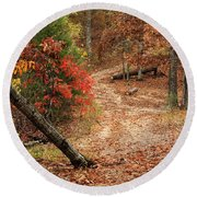 Old Country Road In Shannon County Round Beach Towel