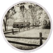 Old Country Saw-mill - Toned Round Beach Towel