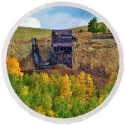 Old Cripple Creek Mine Round Beach Towel