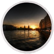 Old Docks Sunset. Round Beach Towel