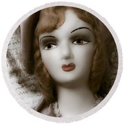 Old Doll On Old Letter Round Beach Towel