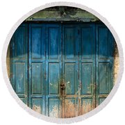 old door in China town Round Beach Towel
