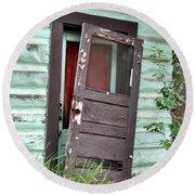 Old Door On Rustic Alaska Cabin Round Beach Towel