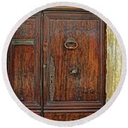 Old Door Study Provence France Round Beach Towel